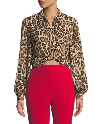 Button-Down Leopard-Print Cropped Blouse