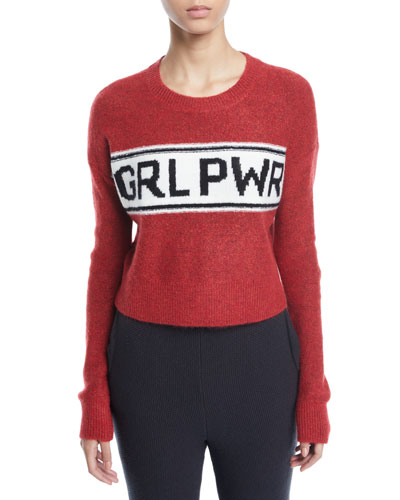 GRL PWR Destroyed Cropped Pullover Sweater
