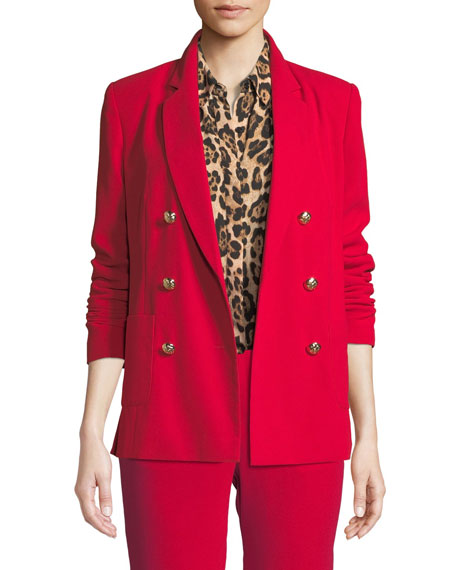 MARLED BY REUNITED Double-Breasted Tailored Blazer With Elbow Slits in Red