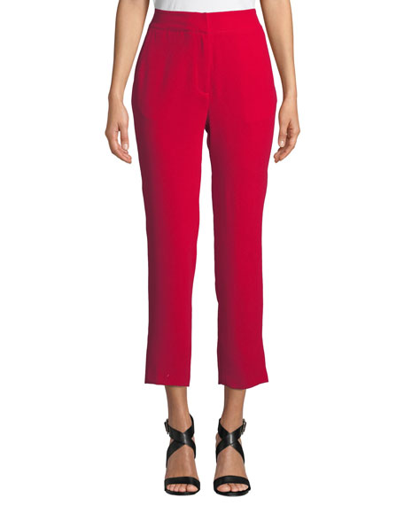 MARLED BY REUNITED High-Rise Cropped Cigarette Pants in Red
