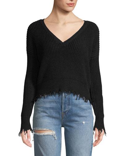 Destroyed V-Neck Cropped Pullover Sweater
