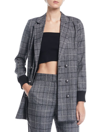 Plaid Ribbed-Cuff Double-Breasted Blazer
