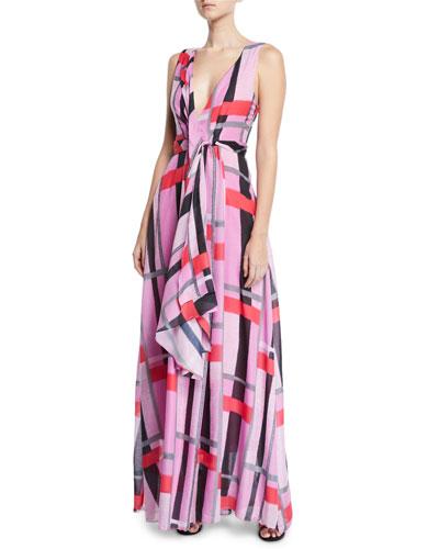 V-Neck Sleeveless Patterned Voile Maxi Dress