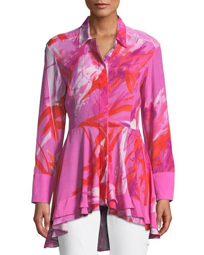 Prism Button-Front Long-Sleeve Peplum Blouse