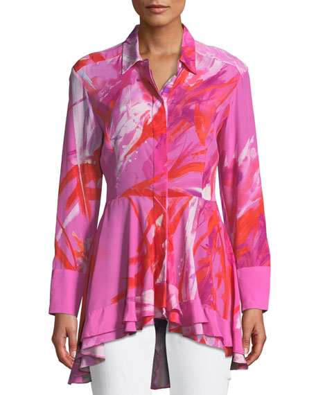 Josie Natori Prism Button-Front Long-Sleeve Peplum Blouse