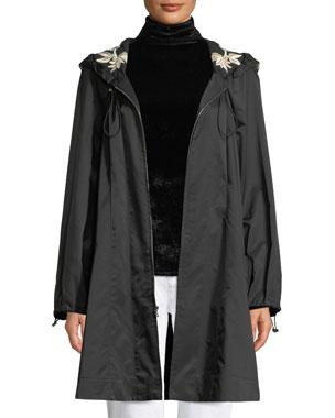 4f8c33fc25de6 Josie Natori Hooded Embroidered Anorak Jacket w  Belt