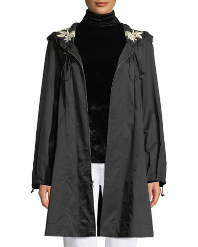 Hooded Embroidered Anorak Jacket w/ Belt