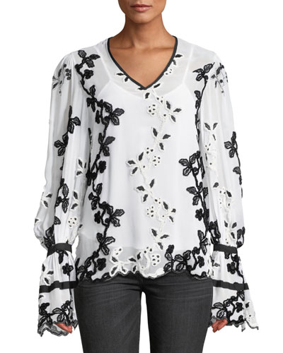 V-Neck Dramatic Long-Sleeve Embroidered Top