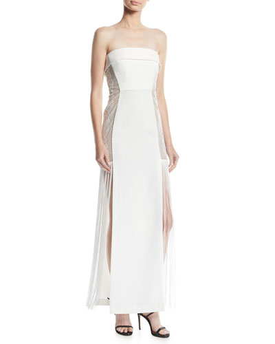 Odette Strapless Dress w/ Lace Inserts