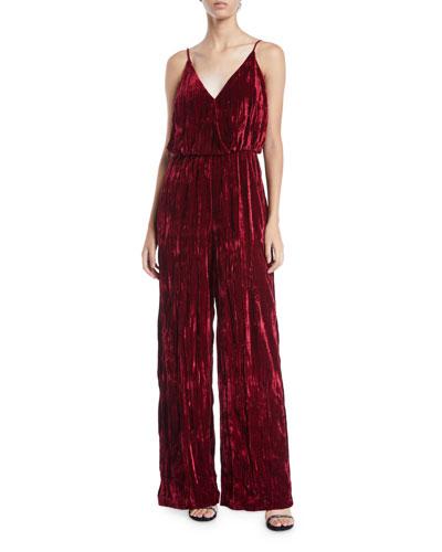 Sleeveless Crinkle Velvet Jumpsuit