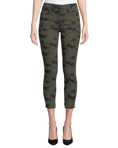 Margot Cropped Camo-Print Skinny Jeans with Side-Stripes