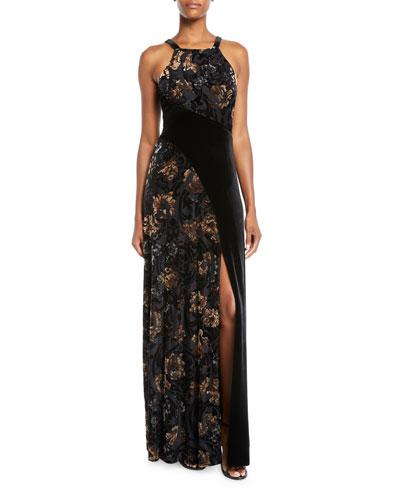 Floral Velvet Halter Gown w/ Slit