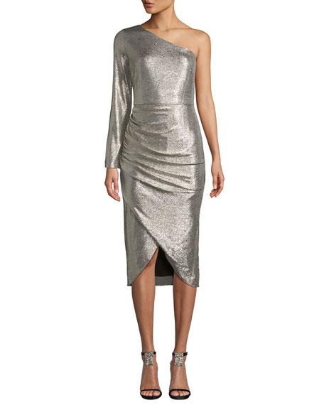 AIDAN MATTOX One-Sleeve Foiled Jersey Dress in Metallic