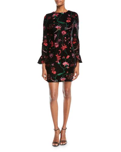 Floral Velvet Bell-Sleeve Dress