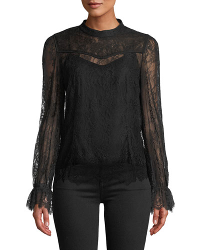 Lois Long-Sleeve Lace Top