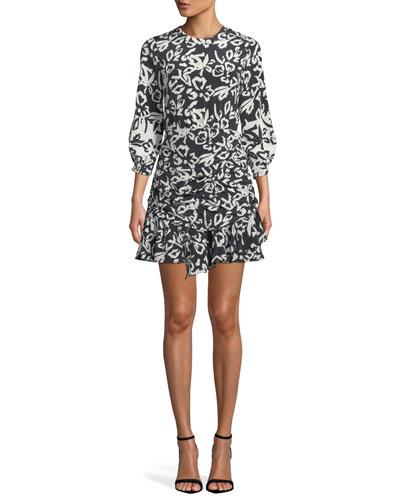 Mel Printed Ruched Silk Flounce Short Dress