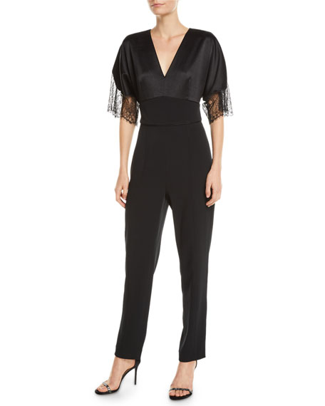 Tanya Taylor Leo Satin-Back Crepe Jumpsuit with Lace Trim