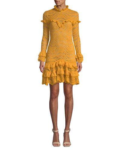 Mixed Lace Long-Sleeve Chiffon Ruffle Dress