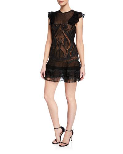 Guipure Applique Ruffle-Sleeve Mini Dress