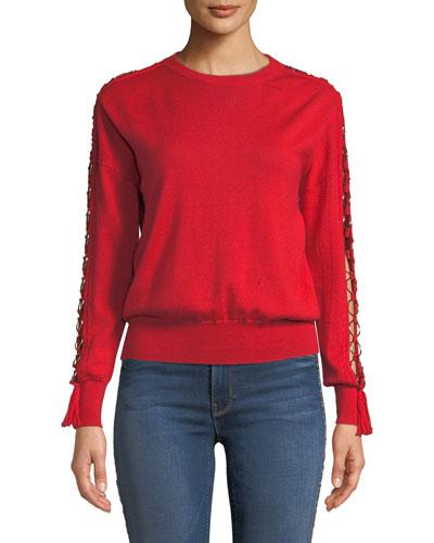 Wool Open-Sleeve O-Ring Tassel Sweater