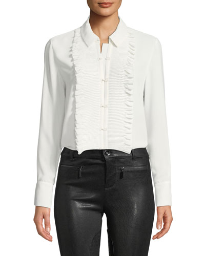 Avette Hook-Front Top with Pleated Ruffle Bib