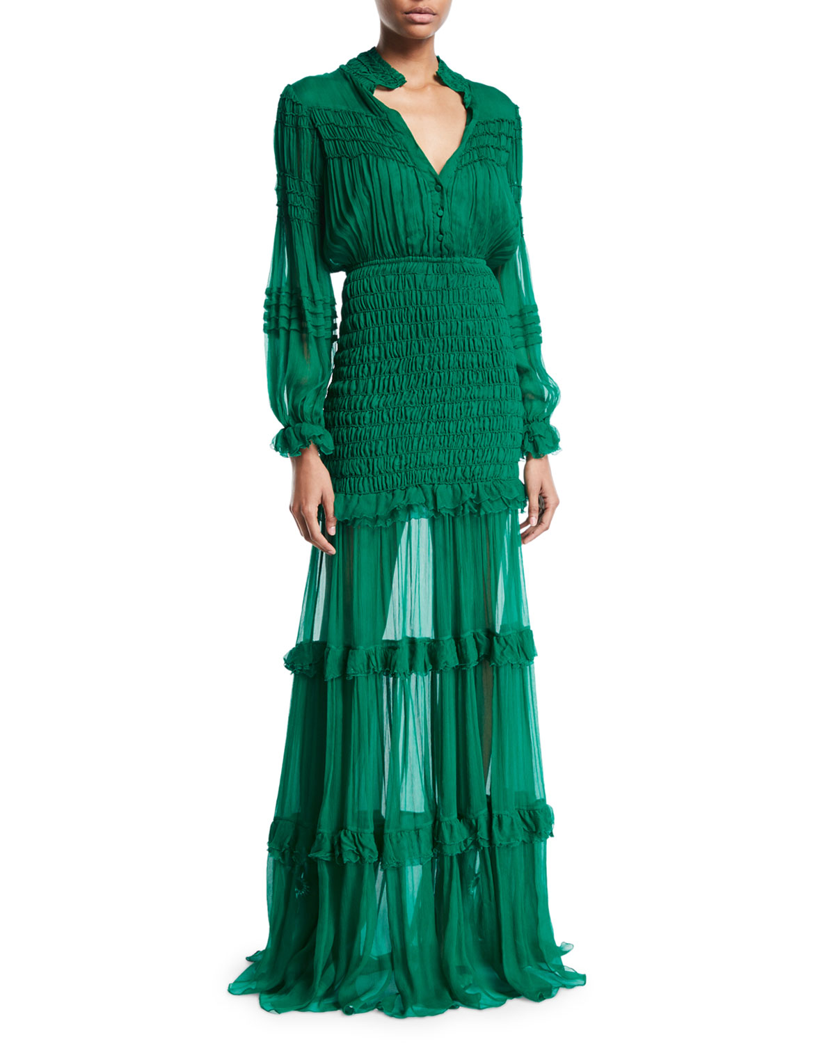 Alexis Sinclair Smocked Ruffle Button Front Dress Neiman
