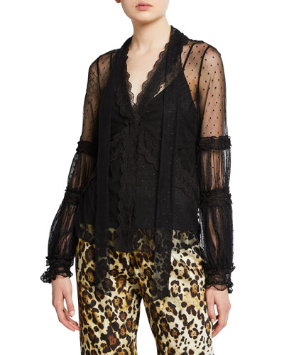 Aimee Button-Front Lace Long-sleeve Top