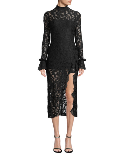 Fala Lace Long-Sleeve Front-Slit Cocktail Dress