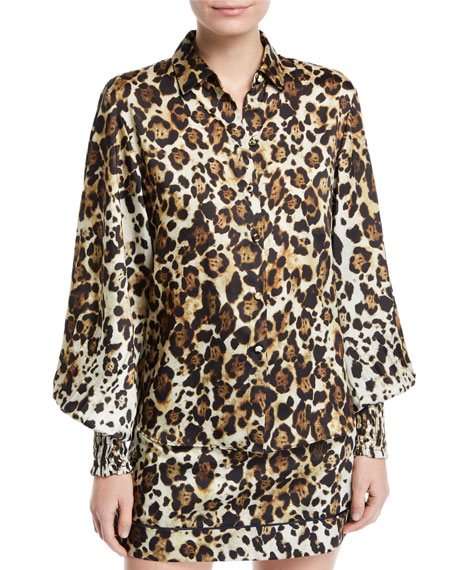 ALEXIS Romana Leopard-Print Button-Down Top