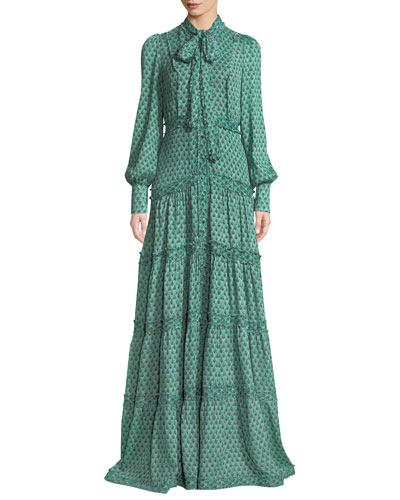 Margeaux Printed Button-Front Tie-Neck Maxi Dress
