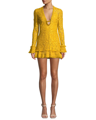Nuray Plunging Lace Long-Sleeve Mini Dress