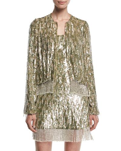 Ingram Sequined Fringe Metallic Jacket