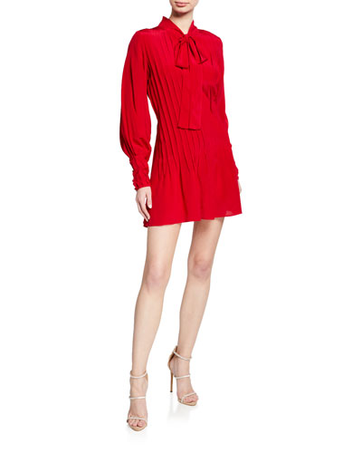 Theodora Tie-neck Long-Sleeve Pintucked Silk Dress