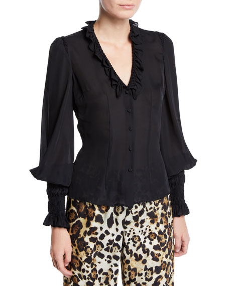 Scyler Ruffle Long-Sleeve Button-Down Top