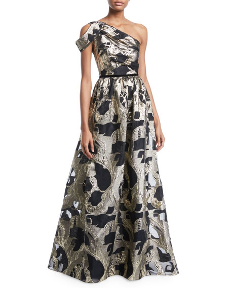 Marchesa Notte One-Shoulder Colorblock Fil-Coupe Gown