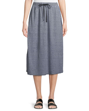 e41d68f91bf60 Eileen Fisher Striped Organic Linen Jersey Midi Skirt