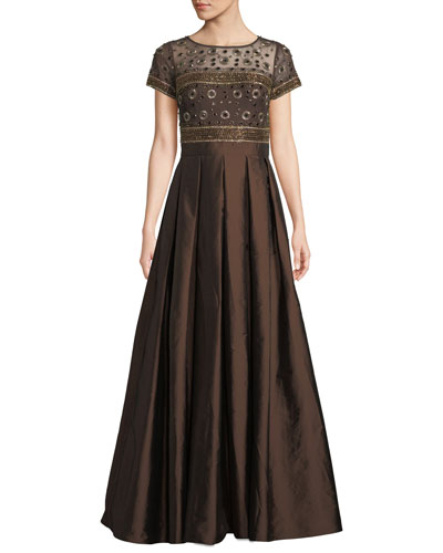 Beaded Illusion & Taffeta Ball Gown w/ Pockets