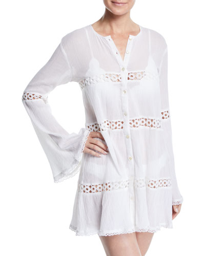Willow Button-Front Long-Sleeve Coverup Tunic