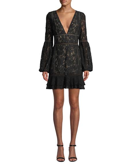 Misha Harper Bell-Sleeve Lace Mini Dress