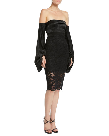 MISHA Constance Strapless Long-Sleeve Lace Dress in Black