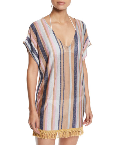 Maggie Metallic Stripe Coverup Tunic Dress