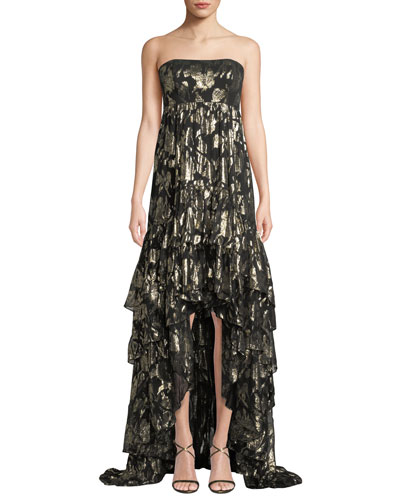 Alessandra Strapless High-Low Metallic Rose Gown