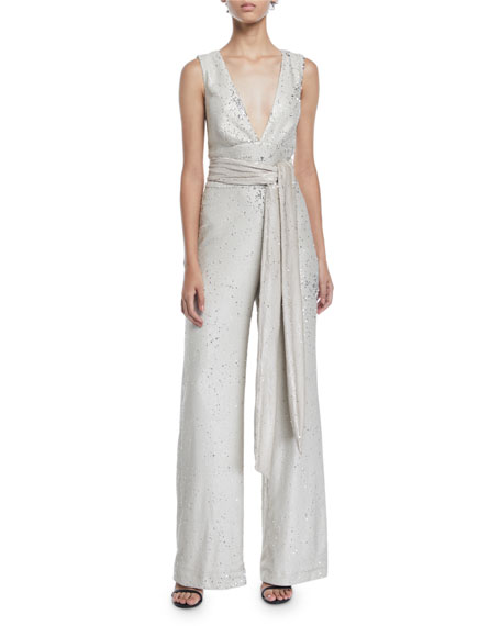 MESTIZA NEW YORK Chrissy Sequin V-Neck Jumpsuit in Nude