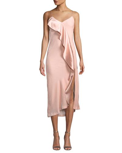 Natalia Velvet Ruffle Midi Slip Dress