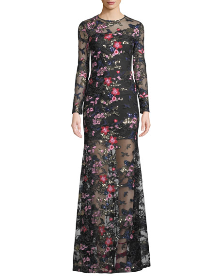 Mestiza New York Bianca Mesh & Floral Embroidered Long-Sleeve Gown