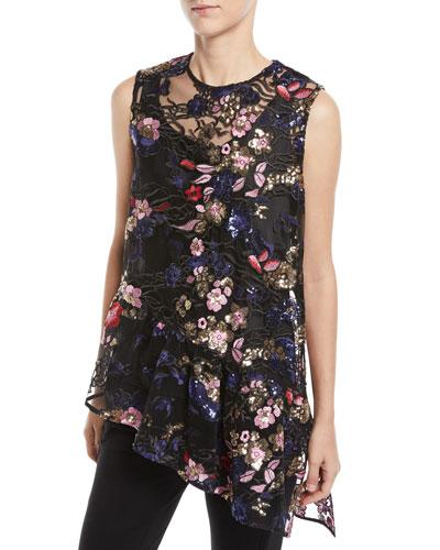Marguerite Sheer Floral & Asymmetric Ruffle Top