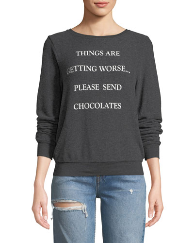 Send Chocolates Graphic Pullover Sweater