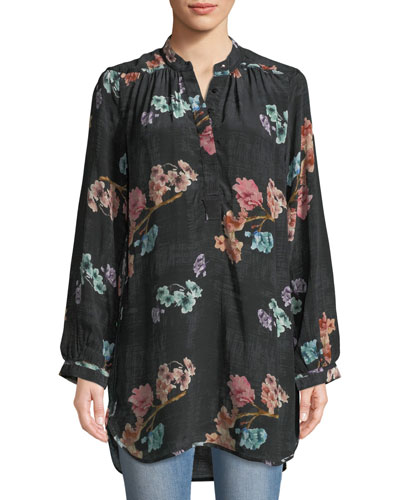 Natasha Botanical-Print Long-Sleeve Tunic, Plus Size