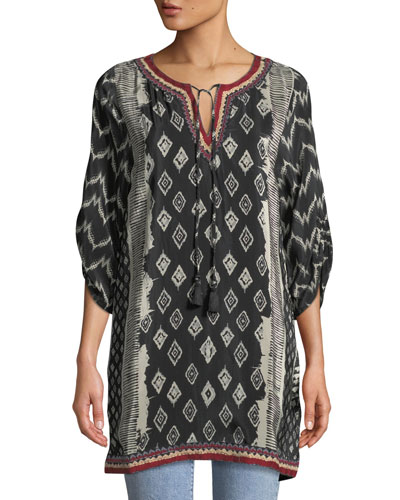 Journey Ikat-Print Tunic Dress, Plus Size