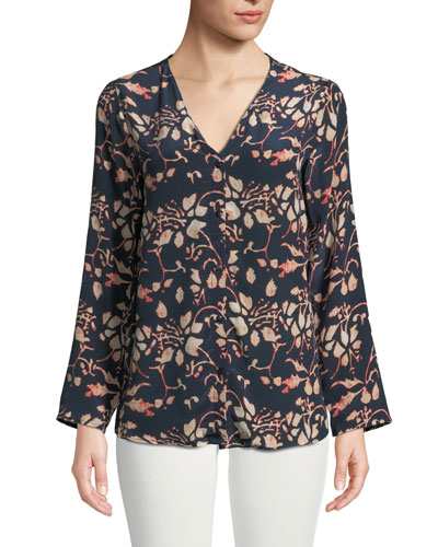Greer Foliage-Print Button-Front Silk Blouse